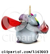 Clipart Of A 3d Chubby Unicorn Holding A Blood Drop On A White Background Royalty Free Illustration