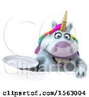 Clipart Of A 3d Chubby Unicorn Holding A Plate On A White Background Royalty Free Illustration