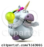 Poster, Art Print Of 3d Chubby Unicorn Holding A Light Bulb On A White Background