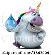 Clipart Of A 3d Chubby Unicorn Holding A Water Drop On A White Background Royalty Free Illustration