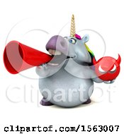 Clipart Of A 3d Chubby Unicorn Holding A Devil On A White Background Royalty Free Illustration