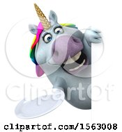 Clipart Of A 3d Unicorn Holding A Plate On A White Background Royalty Free Illustration