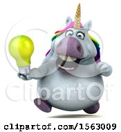 Clipart Of A 3d Chubby Unicorn Holding A Light Bulb On A White Background Royalty Free Illustration
