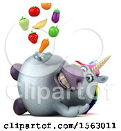 Clipart Of A 3d Chubby Unicorn Holding Produce On A White Background Royalty Free Illustration