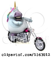 Clipart Of A 3d Chubby Unicorn Biker Riding A Chopper Motorcycle On A White Background Royalty Free Illustration