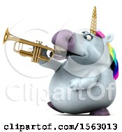 Clipart Of A 3d Chubby Unicorn Playing A Trumpet On A White Background Royalty Free Illustration