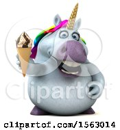 Clipart Of A 3d Unicorn Holding A Waffle Cone On A White Background Royalty Free Illustration