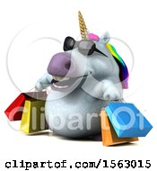 Clipart Of A 3d Chubby Unicorn Carrying Shopping Bags On A White Background Royalty Free Illustration