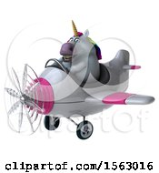Clipart Of A 3d Chubby Unicorn Flying A Plane On A White Background Royalty Free Illustration