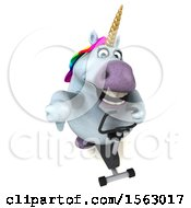 Clipart Of A 3d Chubby Unicorn On A Spin Bike On A White Background Royalty Free Illustration