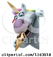 Clipart Of A 3d Chubby Unicorn Holding A Waffle Cone On A White Background Royalty Free Illustration
