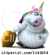 Clipart Of A 3d Chubby Unicorn Traveling On A White Background Royalty Free Illustration