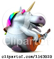Clipart Of A 3d Chubby Unicorn Playing A Guitar On A White Background Royalty Free Illustration