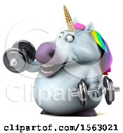 Clipart Of A 3d Chubby Unicorn Working Out With Dumbbells On A White Background Royalty Free Illustration