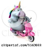 Clipart Of A 3d Unicorn Riding A Scooter On A White Background Royalty Free Illustration