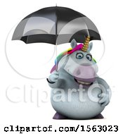 Clipart Of A 3d Chubby Unicorn Holding An Umbrella On A White Background Royalty Free Illustration