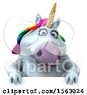 Clipart Of A 3d Chubby Unicorn Over A Sign On A White Background Royalty Free Illustration