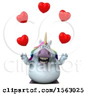 Clipart Of A 3d Chubby Unicorn Juggling Hearts On A White Background Royalty Free Illustration