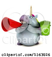 Clipart Of A 3d Unicorn Holding A Recycle Bin On A White Background Royalty Free Illustration