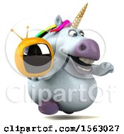Clipart Of A 3d Chubby Unicorn Holding A Tv On A White Background Royalty Free Illustration