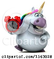 Clipart Of A 3d Chubby Unicorn Holding An Alarm Clock On A White Background Royalty Free Illustration