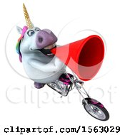3d Unicorn Biker Riding A Chopper Motorcycle On A White Background