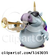 Clipart Of A 3d Unicorn Playing A Trumpet On A White Background Royalty Free Illustration