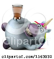 Clipart Of A 3d Chubby Unicorn Holding A  On A White Background Royalty Free Illustration