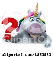 Clipart Of A 3d Chubby Unicorn Holding A Question Mark On A White Background Royalty Free Illustration