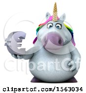 Clipart Of A 3d Chubby Unicorn Holding A Euro On A White Background Royalty Free Illustration