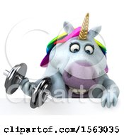Clipart Of A 3d Unicorn Working Out With Dumbbells On A White Background Royalty Free Illustration