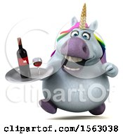 Clipart Of A 3d Chubby Unicorn Holding Wine On A White Background Royalty Free Illustration