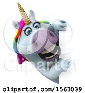 Clipart Of A 3d Unicorn Pointing Around A Sign On A White Background Royalty Free Illustration