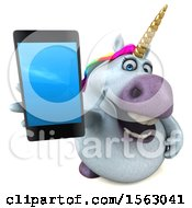 3d Chubby Unicorn Holding A Smart Phone On A White Background