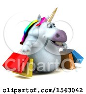 Clipart Of A 3d Chubby Unicorn Holding Shopping Bags On A White Background Royalty Free Illustration