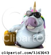 Clipart Of A 3d Chubby Unicorn Traveler On A White Background Royalty Free Illustration