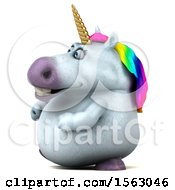 Clipart Of A 3d Chubby Unicorn On A White Background Royalty Free Illustration by Julos