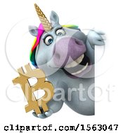 Clipart Of A 3d Chubby Unicorn Holding A Bitcoin Symbol On A White Background Royalty Free Illustration by Julos