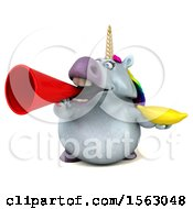 Clipart Of A 3d Chubby Unicorn Holding A Banana On A White Background Royalty Free Illustration by Julos