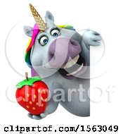 Clipart Of A 3d Chubby Unicorn Holding A Strawberry On A White Background Royalty Free Illustration by Julos