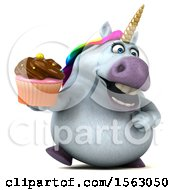 Clipart Of A 3d Chubby Unicorn Holding A Cupcake On A White Background Royalty Free Illustration by Julos