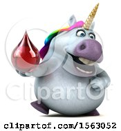 Clipart Of A 3d Chubby Unicorn Holding A Blood Drop On A White Background Royalty Free Illustration by Julos