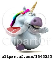 Clipart Of A 3d Chubby Unicorn Holding A Steak On A White Background Royalty Free Illustration by Julos