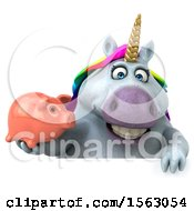 Clipart Of A 3d Chubby Unicorn Holding A Piggy Bank On A White Background Royalty Free Illustration by Julos