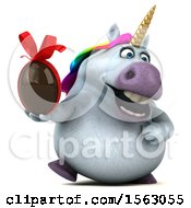 Clipart Of A 3d Unicorn Holding A Chocolate Egg On A White Background Royalty Free Illustration by Julos