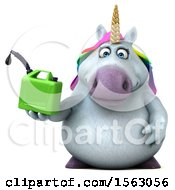 Clipart Of A 3d Chubby Unicorn Holding A Gas Can On A White Background Royalty Free Illustration by Julos