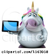 Clipart Of A 3d Chubby Unicorn Holding A Tablet On A White Background Royalty Free Illustration by Julos