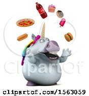 Clipart Of A 3d Chubby Unicorn Juggling Junk Food On A White Background Royalty Free Illustration by Julos