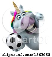 Clipart Of A 3d Chubby Unicorn Holding A Soccer Ball On A White Background Royalty Free Illustration by Julos