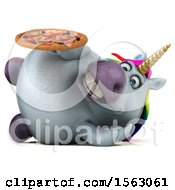 Clipart Of A 3d Chubby Unicorn Holding A Pizza On A White Background Royalty Free Illustration by Julos